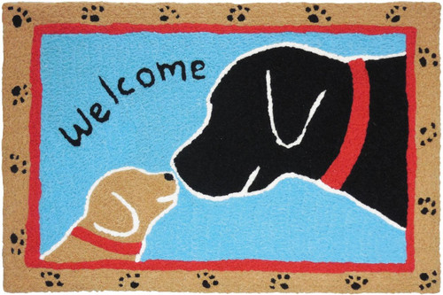 """Jellybean Welcome Dogs Rug 21"""" x 33"""""""