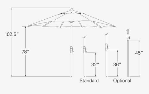 Treasure Garden 8' X 11'Rectangular No-Tilt Crank Lift Umbrella in Sunbrella Black- Black finish