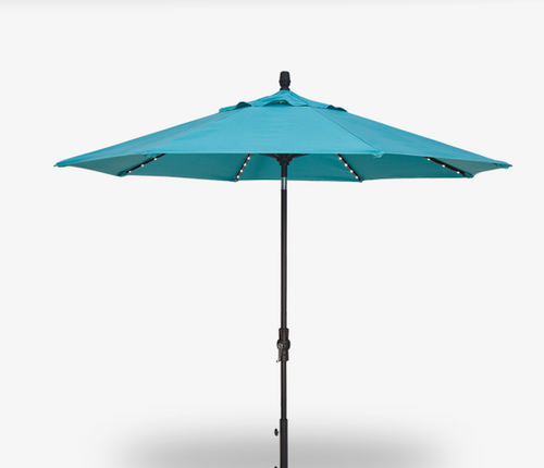 Treasure Garden Starlight 9' Collar Tilt in Sunbrella in Aruba -Single Wind Vent-Black Finish