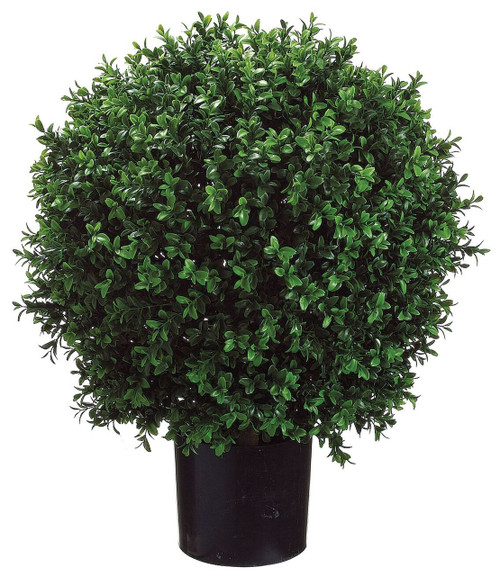 "23.5"" Ball Shape Boxwood Topiary in Plastic Pot Set of 2"
