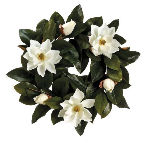 """22"""" Magnolia Wreath Cream Set of 2"""