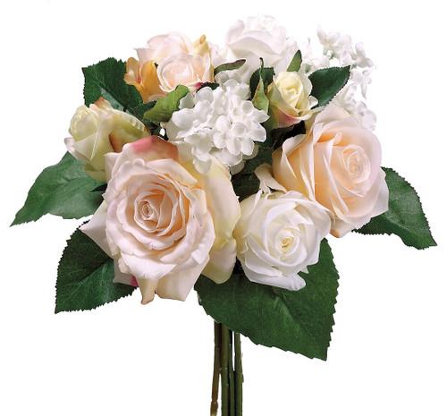 "11.5"" Rose/Hydrangea Bouquet Peach Cream Box of 6"
