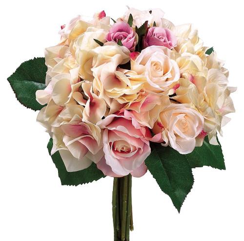 "11"" Rose/Hydrangea Bouquet Fuchsia Pink Box of 6"