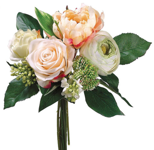 """11"""" Peony/Rose/Lilac Bouquet Peach Green Box of 6"""