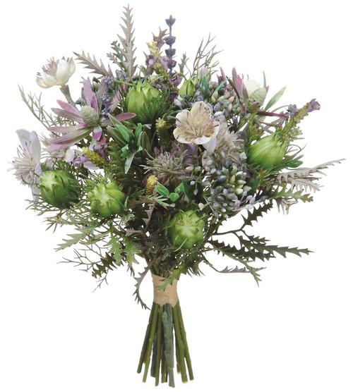 """11.5"""" Nigella/Protea Pod Bouquet Purple Lavender Box of 6"""