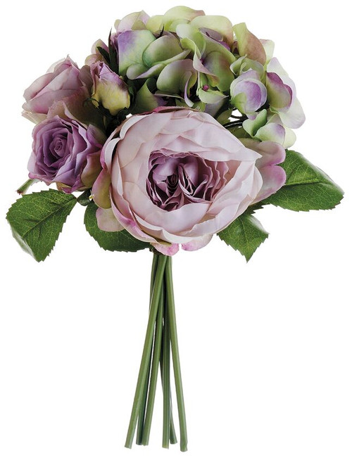 "11"" Hydrangea/Rose/Peony Bouquet Lavender Green Box of 6"