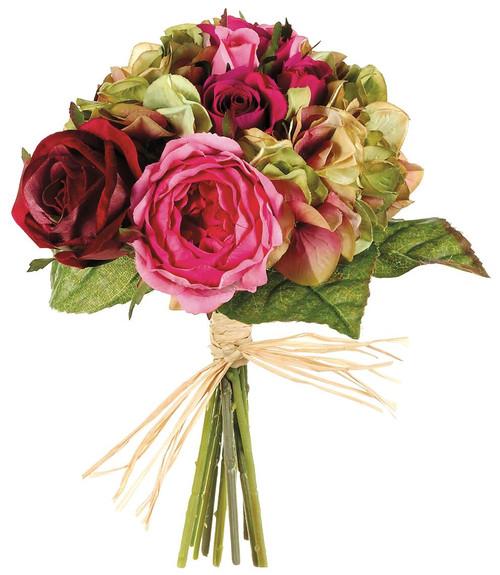 "10.5"" Rose/Hydrangea Mixed Bouquet Rose Green Box of 6"