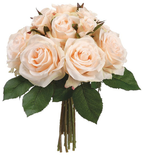 "11.5"" Rose Bouquet Peach Cream Box of 6"