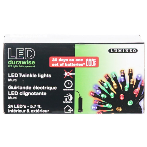 24 LED Twinkle Lights Multi with Memory Controller