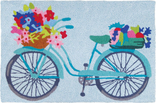 Jellybean Rug Flower Basket on Bicycle