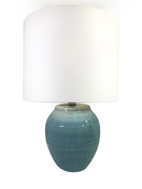 """20.5"""" Crackle Jar Table Lamp with Shade"""