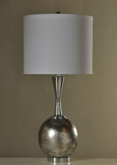 """35.5"""" Silver Table Lamp with Shade"""