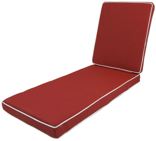 Outdoor Chaise Cushion La Playa Red with Ties