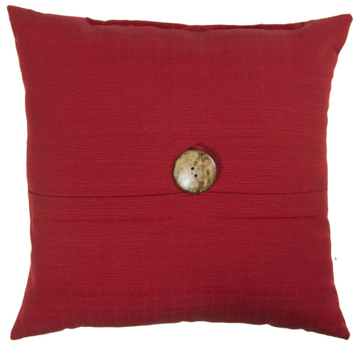 "Outdoor 16"" Square Pillow with Coconut Shell Button Chili"