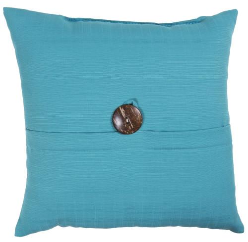 "Outdoor 16"" Square Pillow with Coconut Shell Button Teal"