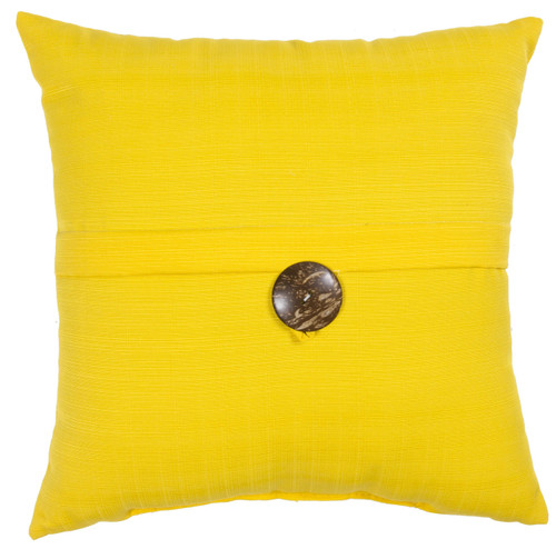 """Outdoor 16"""" Square Pillow with Coconut Shell Button Yellow"""