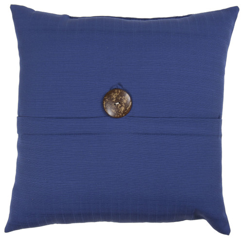 "Outdoor 16"" Square Pillow with Coconut Shell Button Navy"
