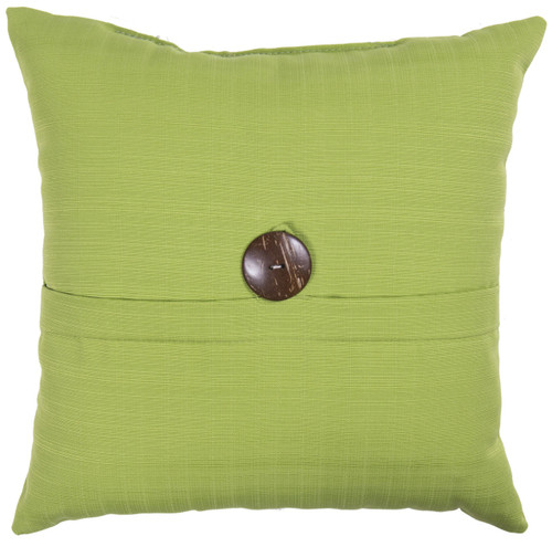 "Outdoor 16"" Square Pillow with Coconut Shell Button Verde"
