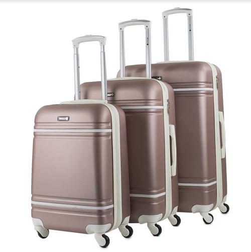 Prima USA Travel Two Tone Rose Gold White Luggage Set 3