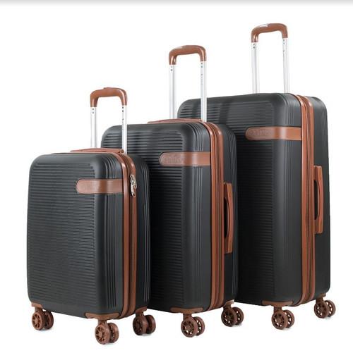Prima USA Travel Black Brown Luggage Set 3