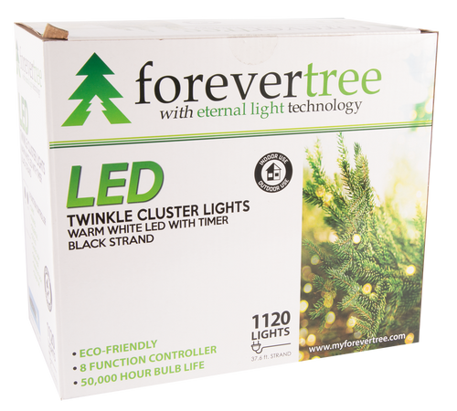ForeverTree 1120 LED Twinkle Cluster White Lights with Black Wire