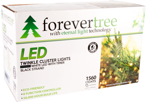 ForeverTree 1560 LED Twinkle Cluster White Lights with Black Wire