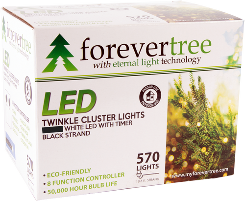 ForeverTree 570 LED Twinkle Cluster  White Lights with Black Wire