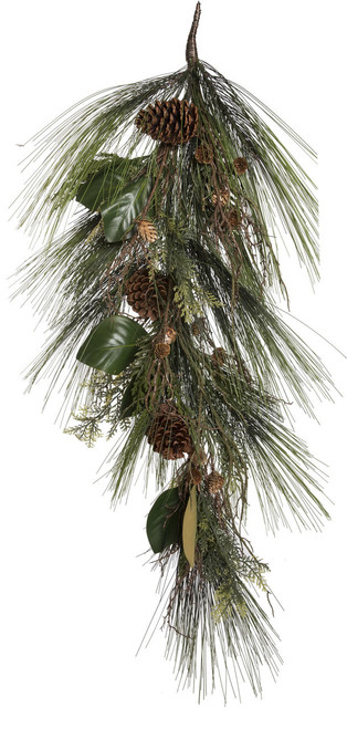 "36"" ForeverTree Long Needle Pine Teardrop Swag with Cedar, Twigs, Cones, and Magnolia Leaves"