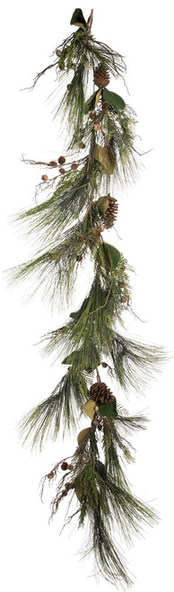 6' ForeverTree Long Needle Pine Garland with Cedar, Twigs, Cones, and Magnolia Leaves