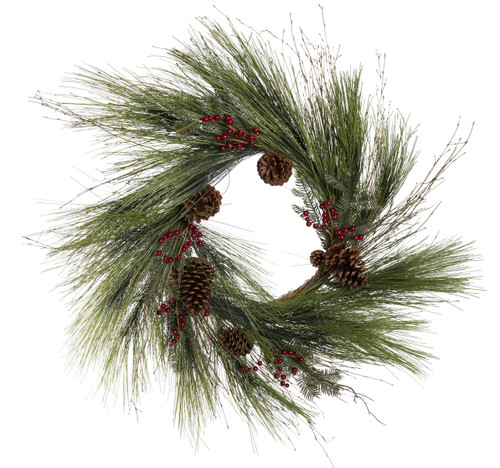 """30"""" ForeverTree Sugar Pine Wreath with Hemlock, Noble, Red Berries, and Cones"""