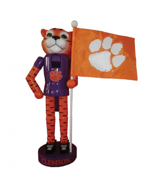 "12"" Santa's Workshop Clemson Mascot and Flag"