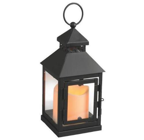 "9"" Square Peaked Roof Lantern w/ Flameless LED Candle"