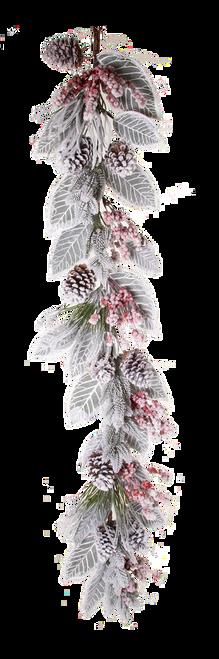 "Snow Berry Cone Pine Magnolia Leaf  Garland 60"""
