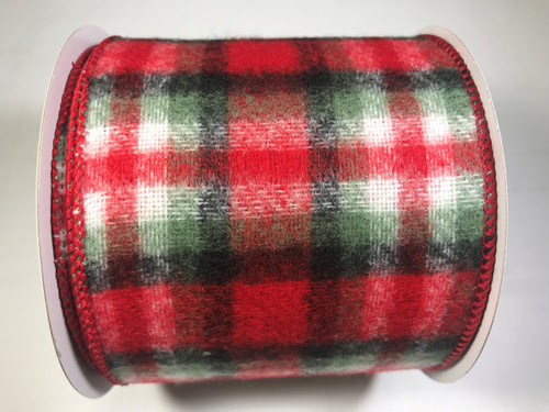 "Ribbon Wool Plaid Red Green Black 4"" x 10yd"