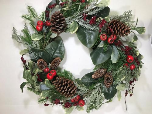 "Pine Cone Berry Wreath 24"""