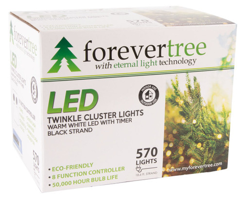 18.6' ForeverTree 570 LED Twinkle Cluster Warm White Lights with Black Wire
