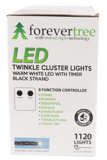37 67' ForeverTree 1120 LED Twinkle Cluster Warm White Lights with Black  Wire