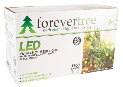 52.5' ForeverTree 1560 LED Twinkle Cluster Warm White Lights with Black Wire
