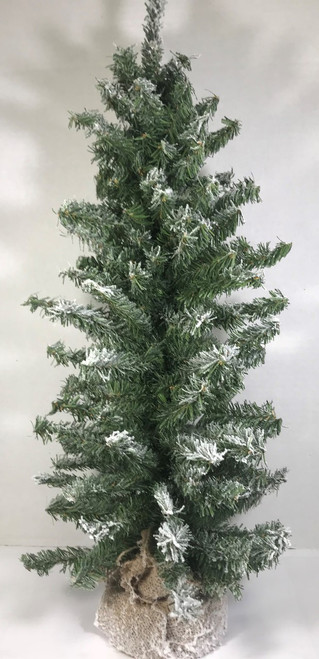 """Flocked Vienna Tree with Burlap Weighted Base 24"""""""