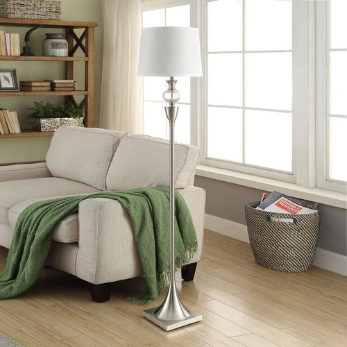 """Crestview Metal and Glass Floor Lamp 61"""" Brushed Nickel with 3 Way Switch"""