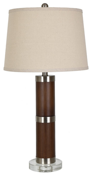 """Crestview Metal and Wood Tone Table Lamp 29.25"""""""