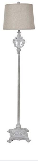 """Crestview Polyresin Floor Lamp with Fleur de Lis 65"""""""