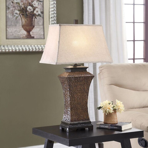 Crestview Polyresin Embossed Crackle Table Lamp 30.75""