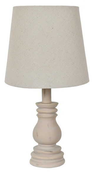 """Crestview Polyresin Weathered White Table Lamp 15"""""""