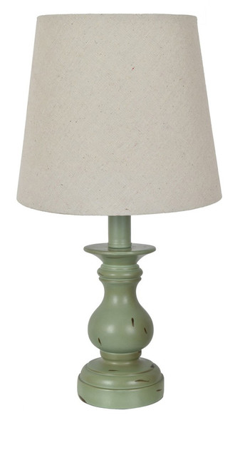 """Crestview Polyresin Table Lamp Distressed Green 15"""""""