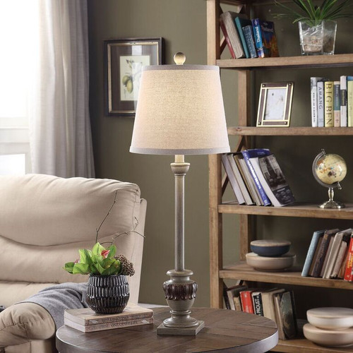 """Crestview Polyresin Buffet Lamp with Acanthus 29"""""""