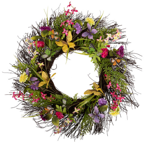 """Arty 24"""" Butterfly Flower Wreath on Natural Twig Base"""