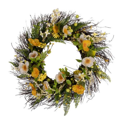 "Arty 24"" White and Yellow Poppy Wreath"