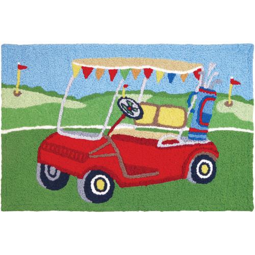 """Jellybean Rug Golfing around 21"""" x 33"""" Indoor/Outdoor"""