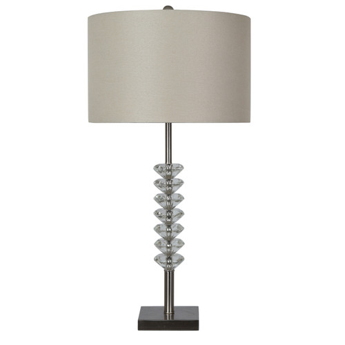 """Crestview Brushed Nickel and Crystal Table Lamp 31.5"""""""
